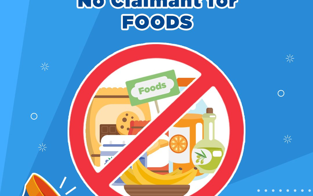 NO CLAIMS FOR FOODS